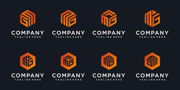 Abstracte pictogrammen voor brief mg, gm pictogram logo ontwerpsjabloon