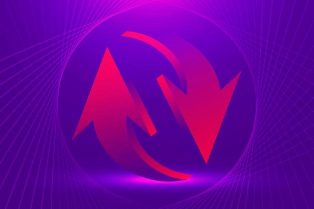 Abstracte pijl achtergrond, paarse gradiënt zakelijke omgekeerde symbool vector