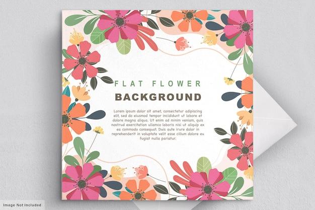 Abstracte platte bloemen uitnodigingskaart