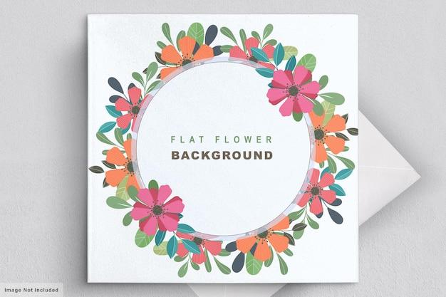 Abstracte platte bloemen uitnodigingskaart Gratis Vector