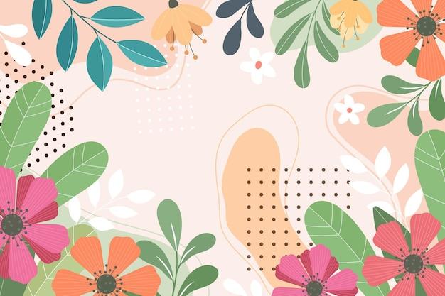 Abstracte platte florale achtergrond Gratis Vector