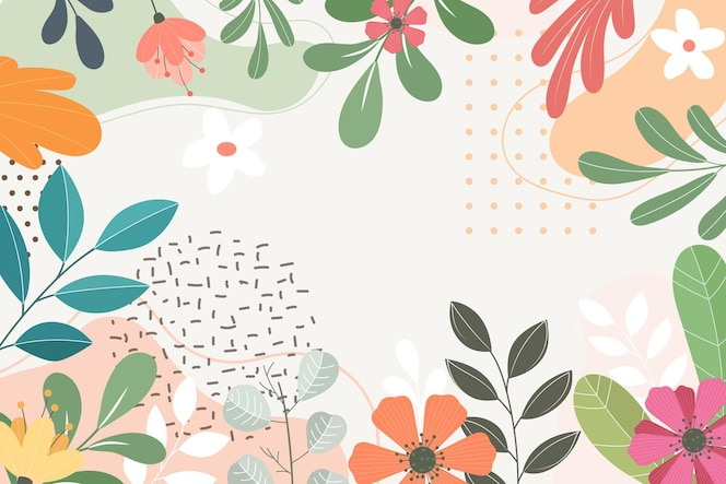 Abstracte platte florale achtergrond