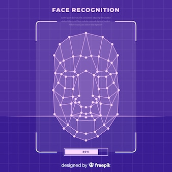 Abstracte platte gezichtsherkenning achtergrond