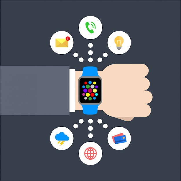 Abstracte platte ontwerp vectorillustratie van een zakenmanhand met een slim horloge met infographic grafiekpictogrammen: bericht, gloeilamp, telefoongesprek, weer, globaal, creditcard