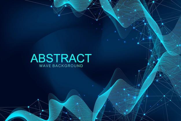 Abstracte plexus achtergrond met aaneengesloten lijnen en punten golf stroom plexus geometrisch effect big data...
