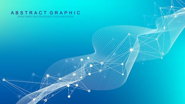 Abstracte plexus achtergrond met aaneengesloten lijnen en punten. molecuul en communicatie achtergrond. grafische achtergrond voor uw ontwerp. lijnen plexus big data visualisatie. vector illustratie.