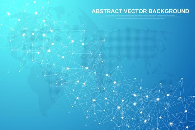 Abstracte plexus achtergrond met aaneengesloten lijnen en punten. plexus geometrisch effect big data met verbindingen. lijnen plexus, minimale array. digitale datavisualisatie. vector illustratie