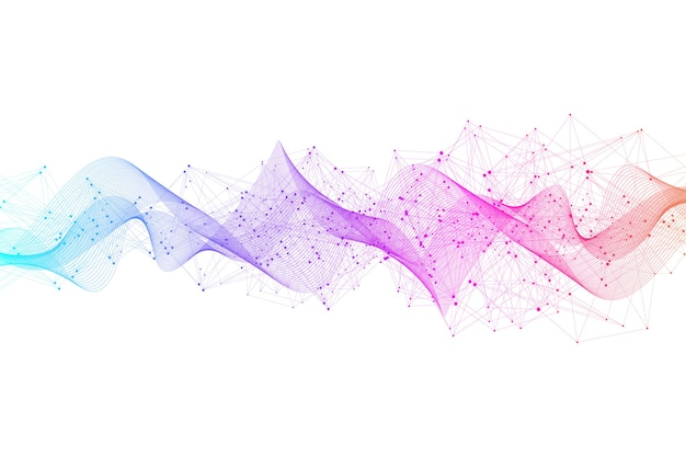 Abstracte plexusachtergrond met aaneengesloten lijnen en punten. plexus geometrisch effect. digitale datavisualisatie. futuristische technologie-stijl low-poly-element
