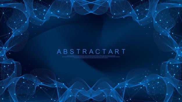 Abstracte plexusachtergrond met aaneengesloten lijnen en punten. vector illustratie