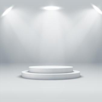 Abstracte podiumachtergrond. een realistisch, licht interieur met een rond podium en spots. podium voor productdemonstratie en productpromotie. symbool van leiderschap en uitmuntendheid
