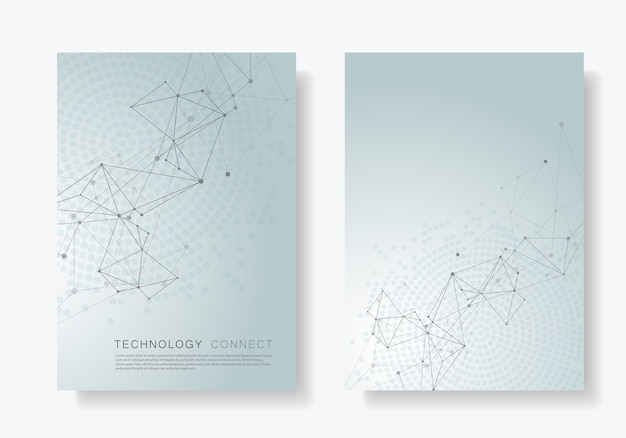 Abstracte poster met aaneengesloten lijnen en punten