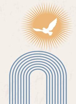 Abstracte poster met een regenboog en een vogel op een achtergrond van een opkomende zon