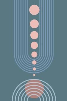 Abstracte poster van geometrische vormen en lijnen met regenboog print en zonnecirkel