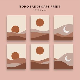 Abstracte posters kunst set met berg en zon