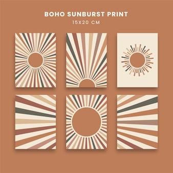 Abstracte posters kunst set met zonnestraal