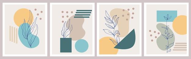 Abstracte posters met geometrische vormen en botanische plantenelementen