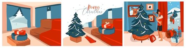 Abstracte prettige kerstdagen en gelukkig nieuwjaar cartoon, illustraties prints set met scènes