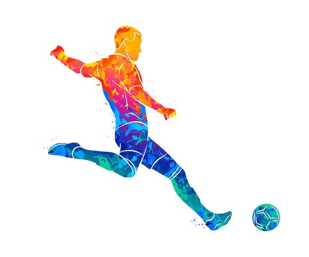 Abstracte professionele voetballer schieten snel een bal uit splash van aquarellen.