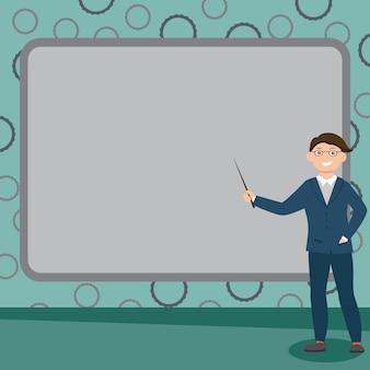 Abstracte professor die lezingen geeft, rapportageconcept uitlegt, prikbordontwerp, leraar die informatie presenteert, gedetailleerd rapport tentoonstelt, adviesidee geeft