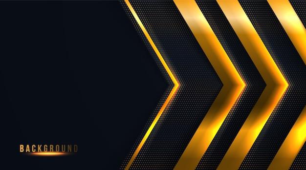 Abstracte punt en pijl zwarte en gouden luxeachtergrond
