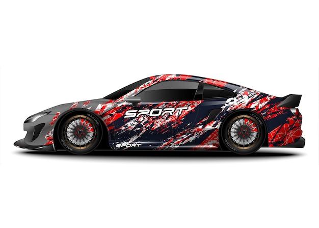 Abstracte race-sportwagen voor stickerontwerp met wrap-emblemen en voertuigkleuren