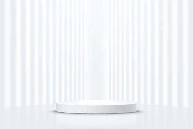 Abstracte realistische 3d zilveren cilinder sokkel podium met perspectief verticale gloed neon verlichting