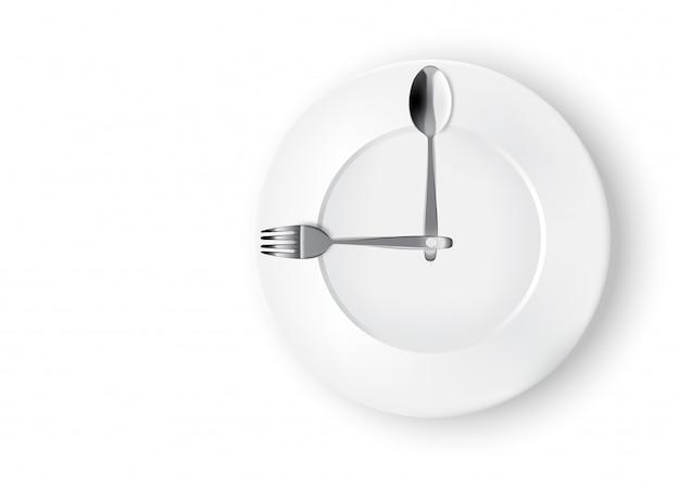 Abstracte realistische tijd om te eten met klok, witte plaat of schotel