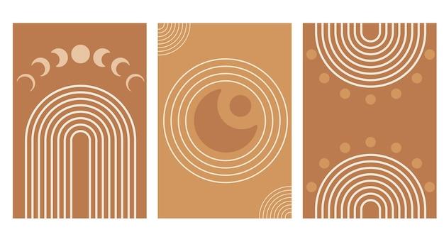 Abstracte regenboog en zon en maanstanden. moderne boho-stijl. geometrische lineaire minimalistische achtergrond. organische vorm in balans. vector illustratie.