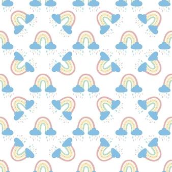 Abstracte regenboog met wolken en regendruppels, doodles en cirkels in een naadloos patroon.