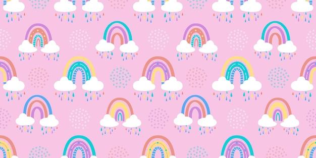 Abstracte regenboog met wolken en regendruppels. vector illustratie