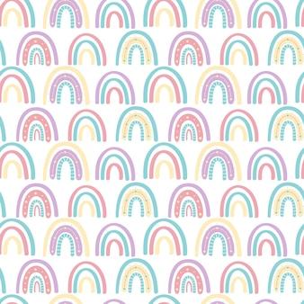 Abstracte regenboog naadloze patroon. kinderpatroon in gedempte pastelkleuren.