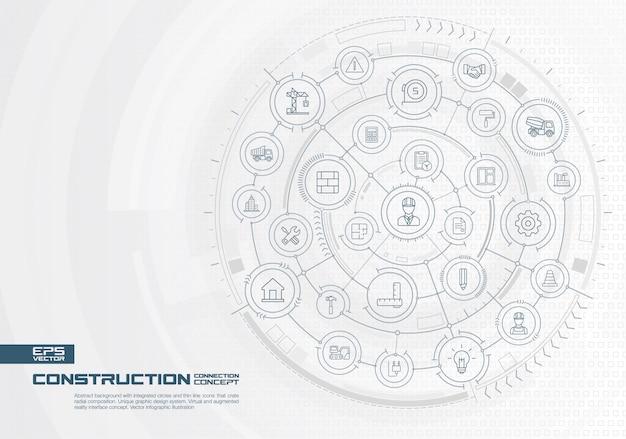 Abstracte reisachtergrond. digitaal verbindingssysteem met geïntegreerde cirkels, gekleurde pictogrammen. radiale grafische interface. toekomstig concept. infographic illustratie