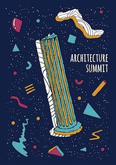 Abstracte retro-stijl 80s-90s poster met geometrische vormen en antieke kolom, trendy kleurrijke achtergrond, architectuurtop.