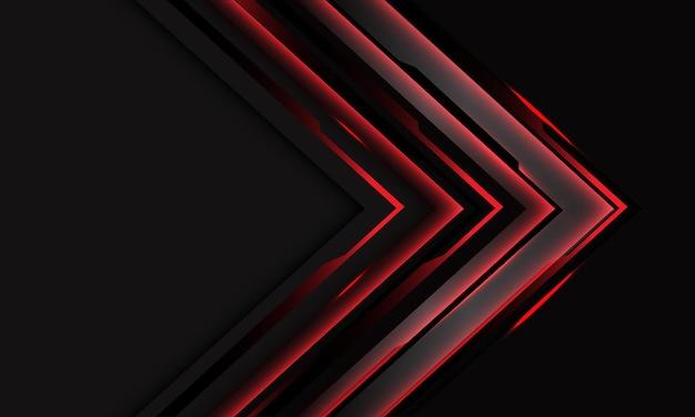 Abstracte rode cyber zwarte circuitpijl op donkergrijs met leeg ruimteontwerp modern futuristisch