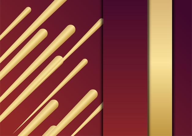 Abstracte rode en gouden presentatieachtergrond. luxe abstracte achtergrond met gouden lijnen op donkere, moderne rode achtergrond concept 3d-stijl. illustratie van vector over modern template deluxe design.