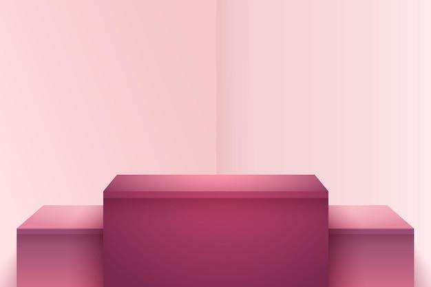 Abstracte rode kastanjebruine kubusvertoning voor productpresentatie