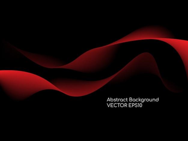 Abstracte rode krommen golvende lijnen op zwarte achtergrond.
