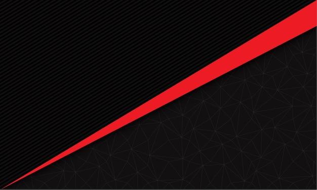 Abstracte rode lijn driehoek schuine streep op donkergrijze lijnen met geometrische lijn moderne futuristische achtergrond
