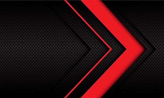 Abstracte rode pijl richting op donkere metalen cirkel mesh ontwerp modern futuristisch.