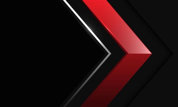 Abstracte rode zilveren de schaduwrichting van de lijnpijl op zwart metallic