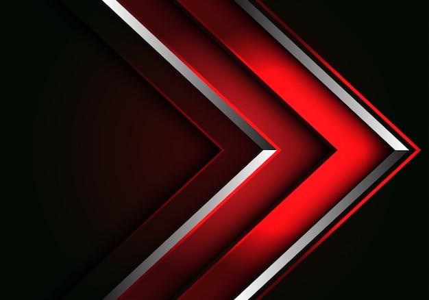 Abstracte rode zilveren lijn pijl richting luxe futuristische achtergrond.