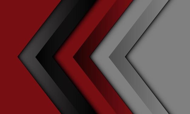 Abstracte rode zwarte grijze pijl richting geometrisch ontwerp moderne futuristische achtergrond vector