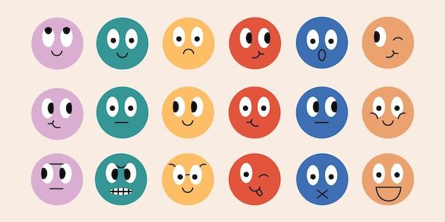 Abstracte ronde komische gezichten met verschillende emoties