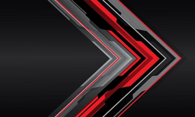 Abstracte rood grijze cyber pijl richting overlap op donkergrijs metallic met lege ruimte moderne futuristische achtergrond