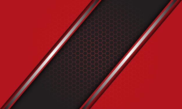 Abstracte rood grijze zilveren lijn schuine streep overlap zeshoek mesh achtergrond