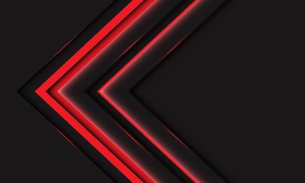 Abstracte rood licht lijn neon pijl metallic richting op donkergrijs met lege ruimte ontwerp moderne futuristische technische achtergrond