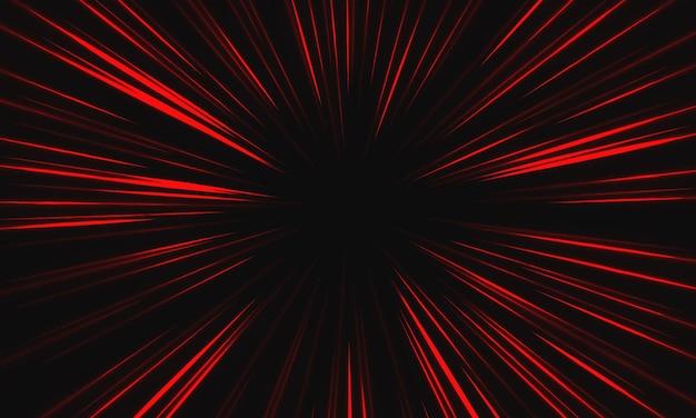 Abstracte rood licht snelheid zoom op zwarte achtergrond technologie vectorillustratie.