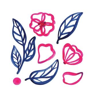 Abstracte roze bloemen, bloemblaadjes, knoppen en blauwe bladeren. set aquarel illustraties