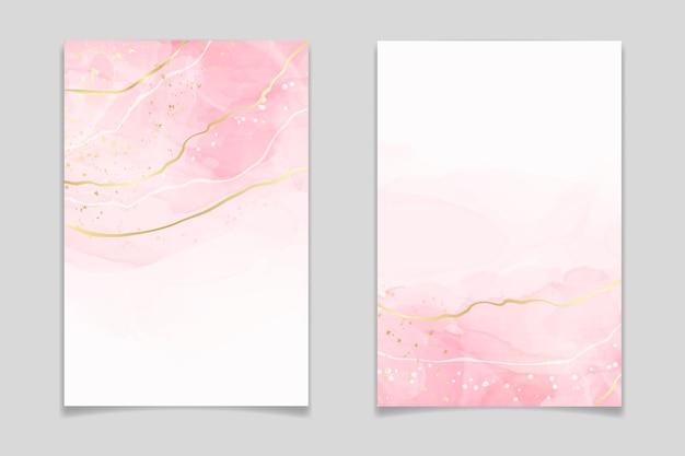 Abstracte roze blush vloeibare aquarel achtergrond met gouden lijnen stippen en vlekken