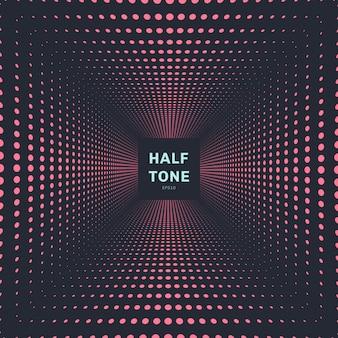 Abstracte roze kleur halftone perspectief achtergrond